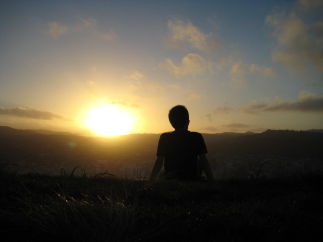 Guy silhouette watching sunset 640x480